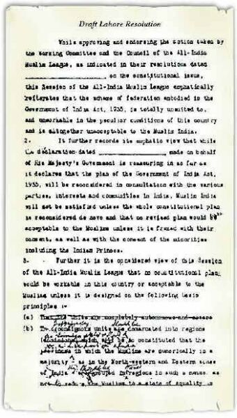 Draft Lahore Resolution- with proposed changes by Jinnah and Barkat Ali