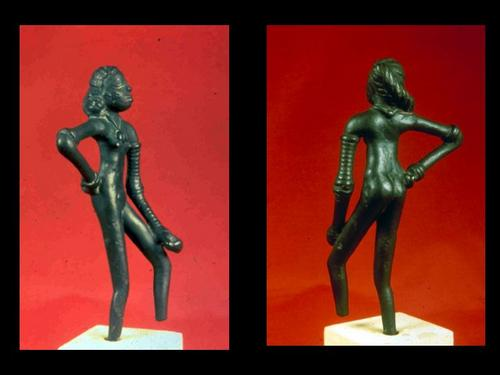 "Sculpture of the ""Dancing Girl"" found in Mohenjodaro excavation"